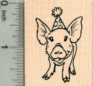 birthday pig rubber stamp piglet in party hat rubberhedgehog