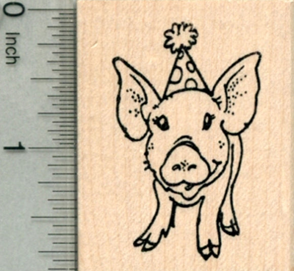 Birthday Pig Rubber Stamp, Piglet in Party Hat