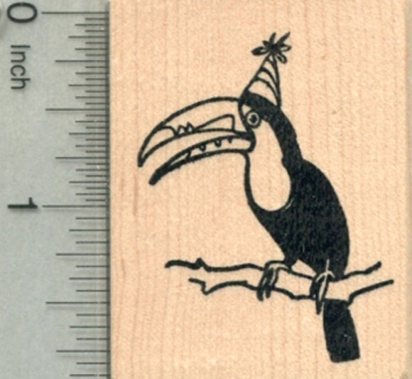Birthday Toucan Rubber Stamp, Tropical Bird in Party Hat