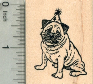Birthday Pug Rubber Stamp, Dog in Party Hat
