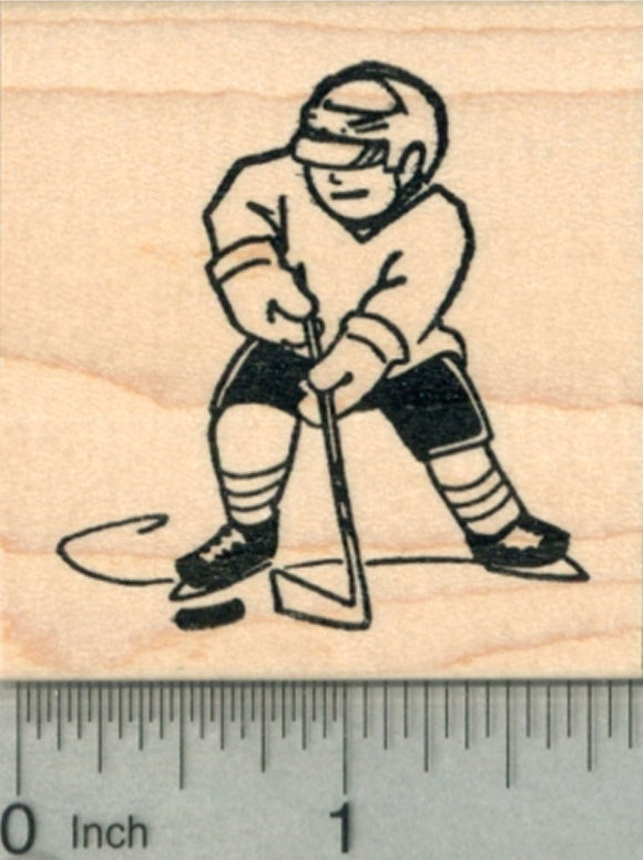 Hockey Player Rubber Stamp