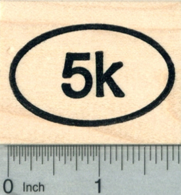 5K Euro Oval Rubber Stamp, Running Race