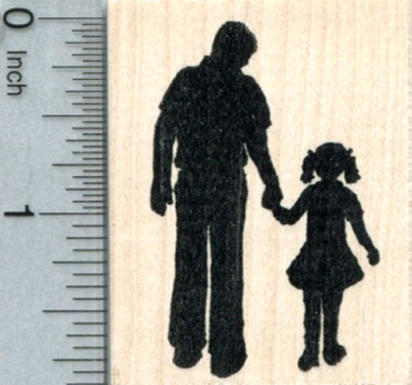 Father and Daughter Rubber Stamp, Father's Day, Family Life