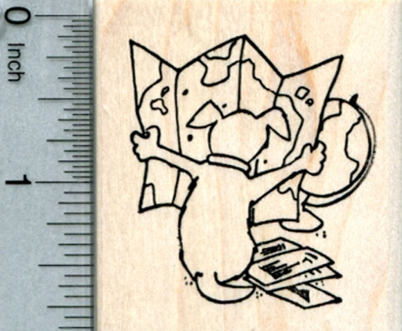Travel Dog Rubber Stamp, with Atlas and World Map