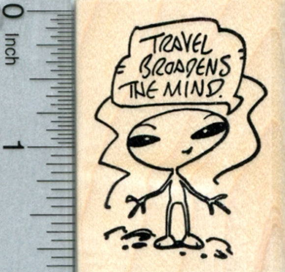 Traveling Alien Rubber Stamp