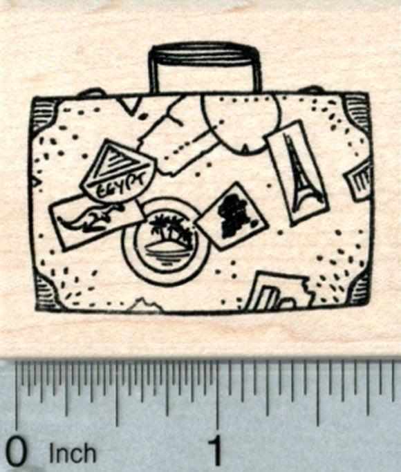 Traveler's Luggage Rubber Stamp, Vintage Suitcase
