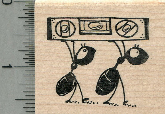 Carpenter Ant Rubber Stamp, with Bubble Level