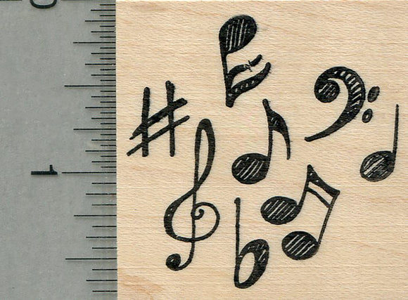 Musical Notes Rubber Stamp, Music Series