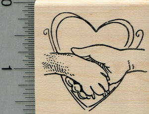 Dog Paw Rubber Stamp, with Human Hand in Heart