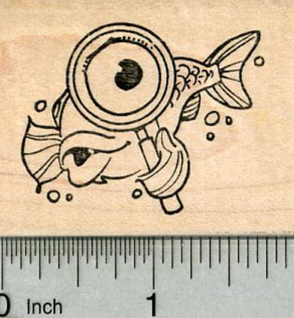 Fish Detective Rubber Stamp, with Magnifying glass