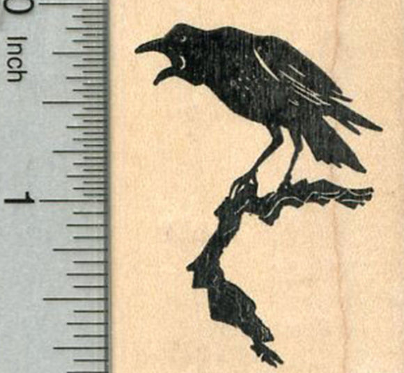 Raven Rubber Stamp, Bird on a Branch, Halloween Series