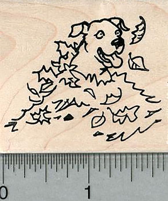Labrador Retriever Rubber Stamp, Dog in Fall Leaves