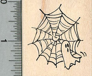 Halloween Ghost Rubber Stamp, Caught in Spider Web