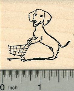 Dachshund Rubber Stamp, Dog with Shopping Cart