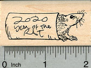 Year of the Rat Rubber Stamp, Chinese New Year, 2020 Version