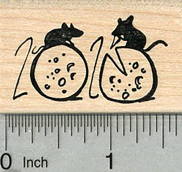 Year of the Rat Rubber Stamp, Chinese New Year, Rats with Cheese