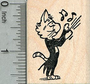 Cat Conductor Rubber Stamp, Orchestra Music Series