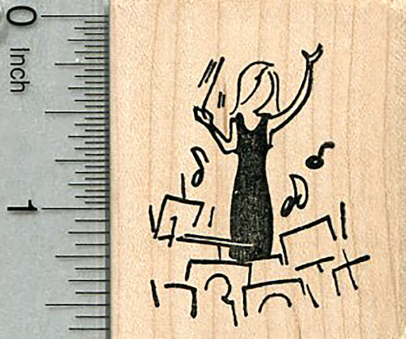 Female Conductor Rubber Stamp, Orchestra Music Series