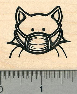Masked Cat Rubber Stamp, Stay Healthy By Masking up, Virus Series