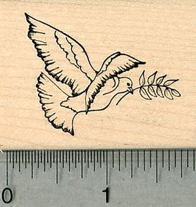 Peace Dove Rubber Stamp, with Olive Branch, Facing Right