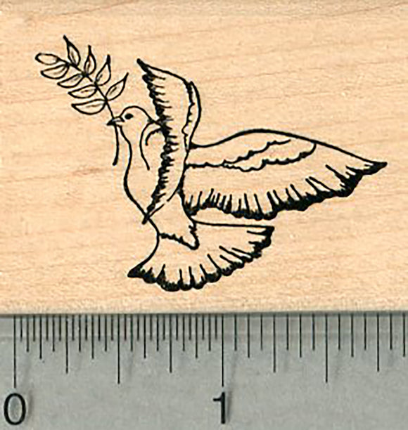 Peace Dove Rubber Stamp, with Olive Branch, Facing Left