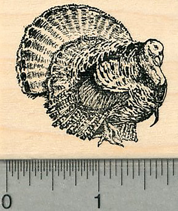 Wild Turkey Rubber Stamp, Small Size, Thanksgiving Series