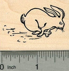 Running Rabbit Rubber Stamp, Bunny hopping