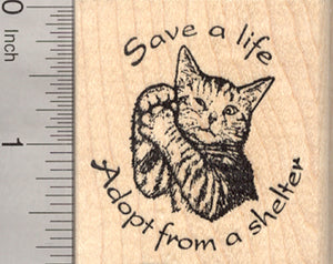 Cat Shelter Rubber Stamp, Animal Welfare, Adoption and Rescue