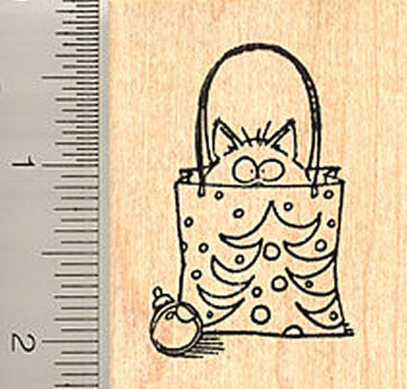 Cat in Bag Christmas Rubber Stamp