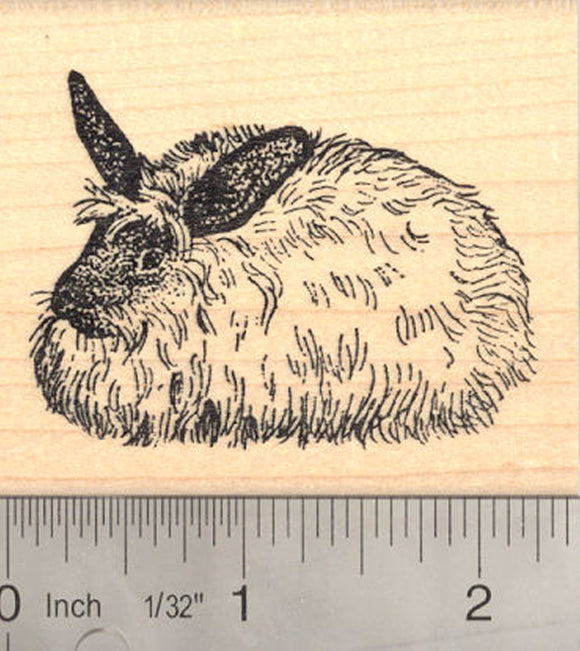 French Angora Rabbit Rubber Stamp, Long haired Wool Bunny