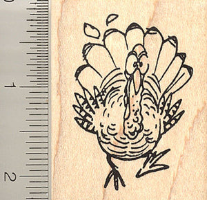 Fleet Footed Turkey Rubber Stamp, Thanksgiving