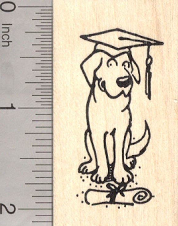 Graduation Dog Rubber Stamp with Diploma and Mortar Board