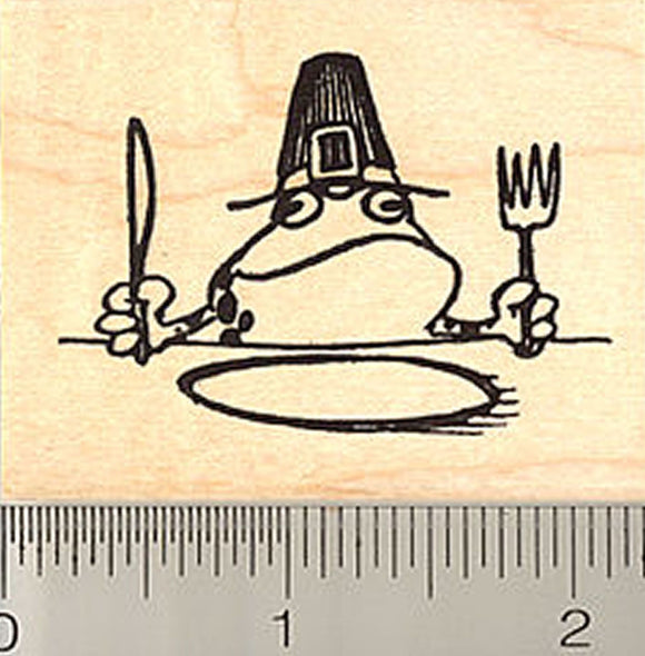 Thanksgiving Frog Pilgrim Rubber Stamp
