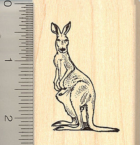 Kangaroo Rubber Stamp - Wood Mounted