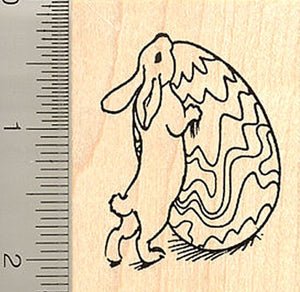 Rabbit with Large Easter Egg Rubber Stamp