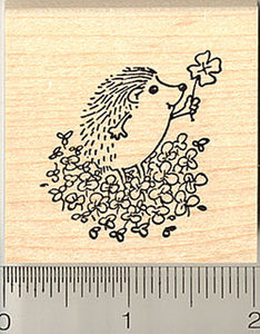 Cute Hedgehog with Four Leaf Clover Rubber Stamp