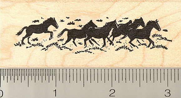 Herd of Running Horses Rubber Stamp