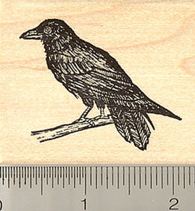 Raven Bird Rubber Stamp, Crow