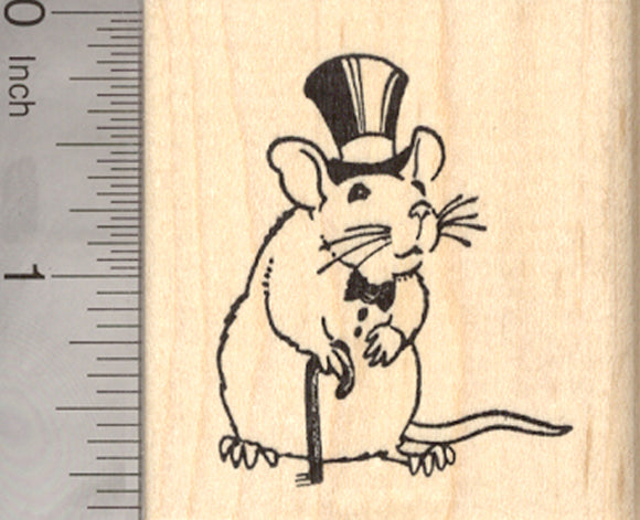 Dapper Rat Rubber Stamp