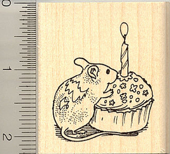 Mouse with Birthday Cupcake Rubber Stamp - Wood Mounted