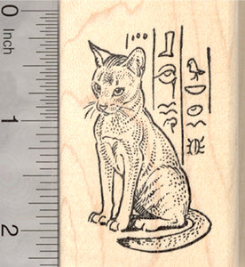 Abyssinian Cat with Egyptian Hieroglyphs Rubber
