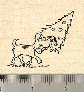 Dog Fetching Christmas Tree Rubber Stamp