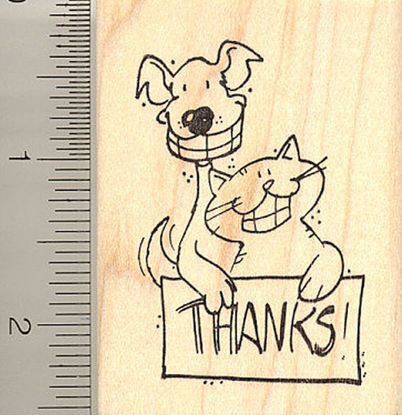 Smiling Dog and Cat Thank You Rubber Stamp