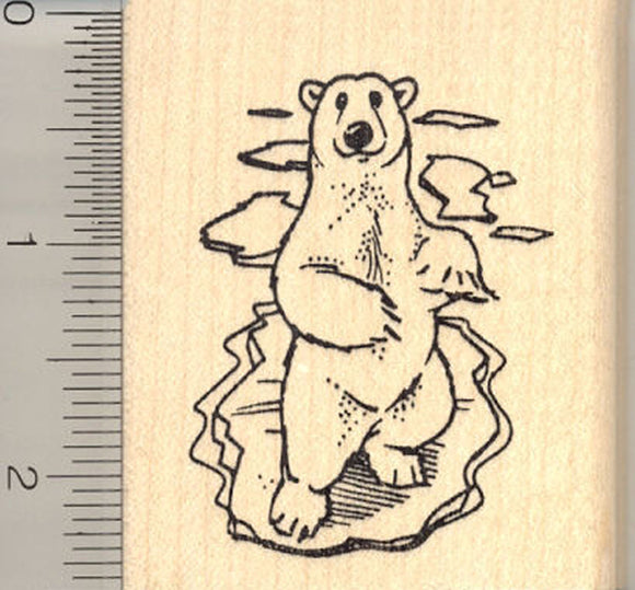Polar Bear on Ice Rubber Stamp