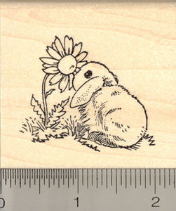 Bunny with Flower Rubber Stamp