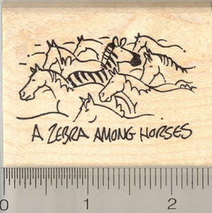 A Zebra Among Horses Rubber Stamp