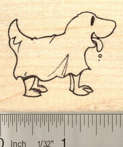 Dog in Ghost Costume Rubber Stamp