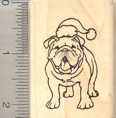 Christmas Bulldog Rubber Stamp