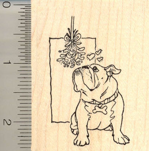 Bulldog with Mistletoe Rubber Stamp