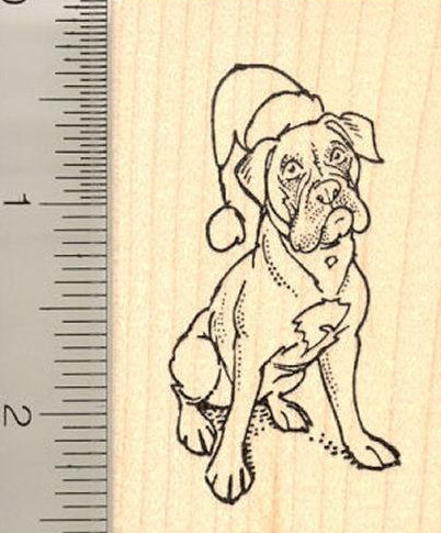 Christmas Boxer Dog Rubber Stamp